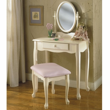 Powell Furniture Vanity, Mirror and Bench Set in Off White
