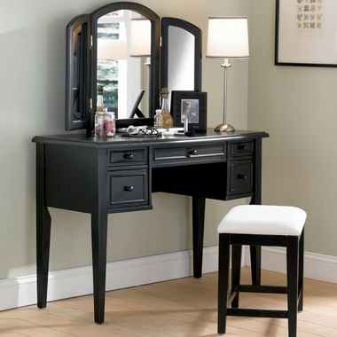Powell Furniture Vanity, Mirror and Bench Set in Antique Black