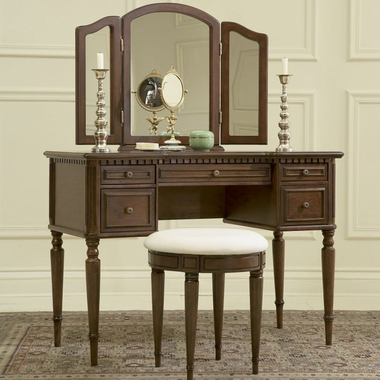 Powell Furniture Vanity, Mirror and Bench Set in Warm Cherry