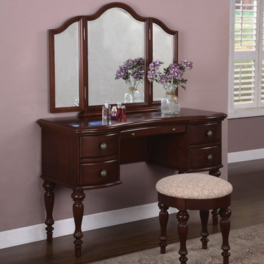 Powell Furniture Vanity, Mirror and Bench Set in Marquis Cherry