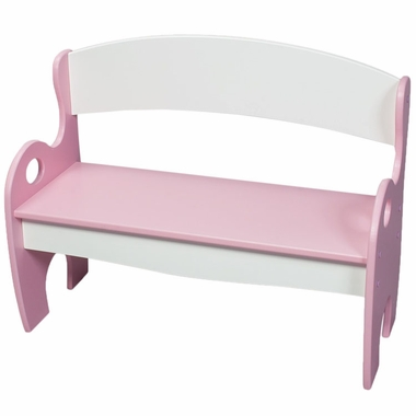 Pink and White Childrens Bench by Kids Korner - Click to enlarge