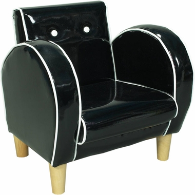 Black with White Piping Vinyl Retro Upholstered Chair by Kids Korner - Click to enlarge