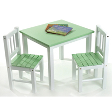 Green & White Table & Chair by Lipper - Click to enlarge