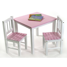 Pink & White Table & Chair by Lipper - Click to enlarge