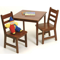 Cherry Square Table & 2 Chairs Set by Lipper - Click to enlarge