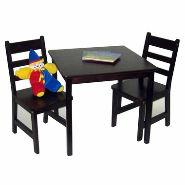 Espresso Square Table and 2 Chairs Set by Lipper
