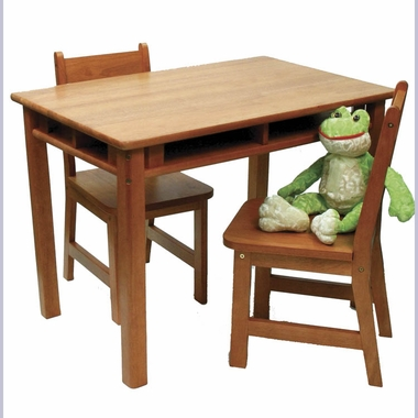 Pecan Child's Rectangular Table with Shelves & 2 Chairs by Lipper - Click to enlarge