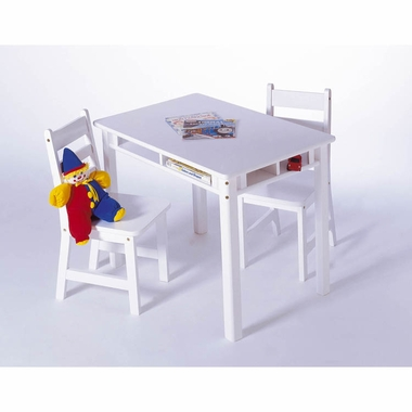 White Child's Rectangular Table with Shelves and 2 Chairs by Lipper - Click to enlarge