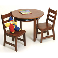 Cherry Child's Round Table with Shelf & 2 Chairs by Lipper - Click to enlarge
