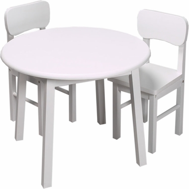 White Round Table and Two Chair Set by Kids Korner - Click to enlarge
