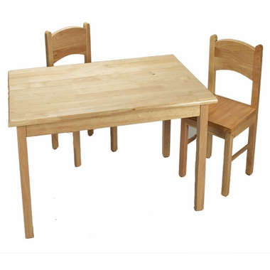 Natural Rectangle Table and Two Chair Set by Kids Korner - Click to enlarge