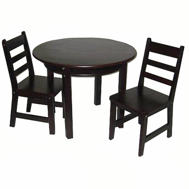 Espresso Child's Round Table with Shelf and 2 Chairs by Lipper
