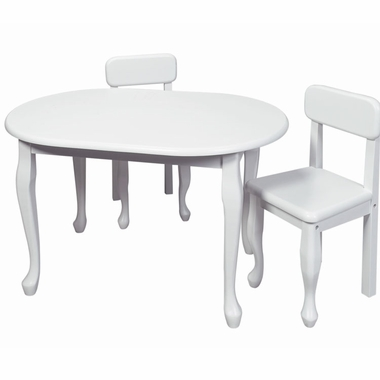 White Queen Anne Oval Table and Two Chair Set by Kids Korner - Click to enlarge