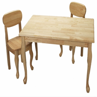 Natural Queen Anne Rectangle Table and Two Chair Set by Kids Korner - Click to enlarge