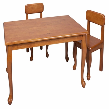 Honey Queen Anne Rectangle Table and Two Chair Set by Kids Korner - Click to enlarge