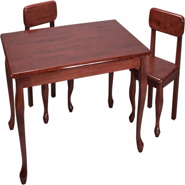 Cherry Queen Anne Rectangle Table and Two Chair Set by Kids Korner - Click to enlarge
