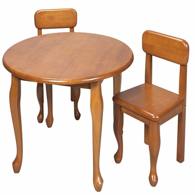 Honey Queen Anne Round Table and Two Chair Set by Kids Korner