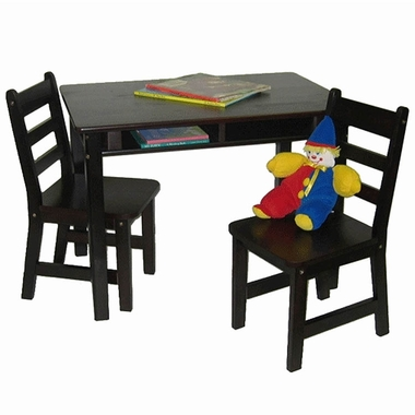 Espresso Child's Rectangular Table with Shelves and 2 Chairs by Lipper