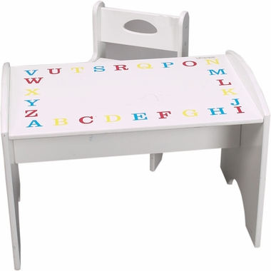 Primary & White ABC Study Table & Chair Set by Kids Korner - Click to enlarge