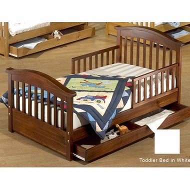 White Joel Pine Toddler Bed with Underbed Drawer by Sorelle - Click to enlarge