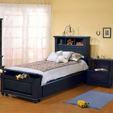 Denim Blue Treasures 3 Piece Bedroom Set - Twin Bed, Trundle and Nightstand      by Alligator - Click to enlarge