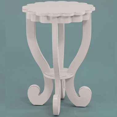 Distressed White Scallop End Table by Alligator - Click to enlarge
