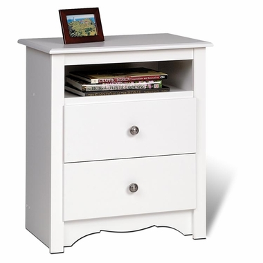 White Monterey 2 Drawer Tall Nightstand with Open Shelf by PrePac
