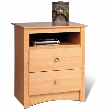 Maple Sonoma 2 Drawer Tall Nightstand with Open Cubbie by PrePac