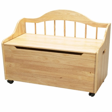 Natural Deacon's Bench / Toy Chest on Casters by Kids Korner - Click to enlarge