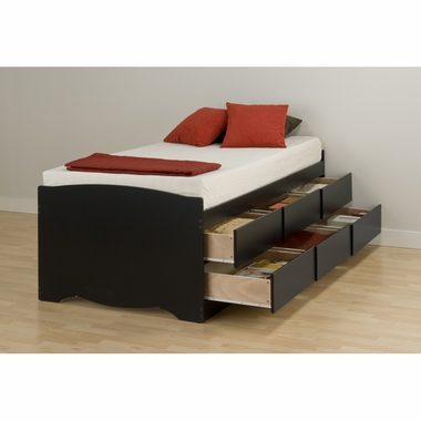 Black Sonoma Tall Twin Platform 6 Drawers Storage Bed by PrePac
