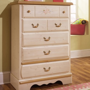 White Wash Princess Bouquet 5 Drawer Chest by Kathy Ireland