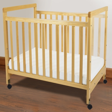 Natural SafetyCraft Compact Fixed Side Clearview Crib by Foundations