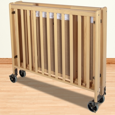 Natural HideAway Folding Fixed Side Full Size Crib by Foundations - Click to enlarge