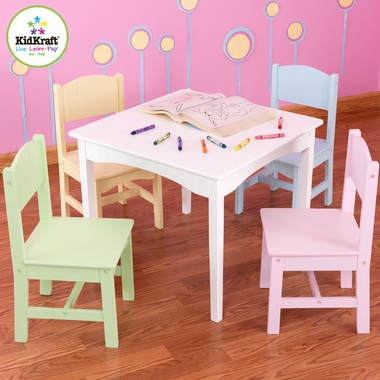 White Nantucket Childs Table & Chair Set by KidKraft - Click to enlarge