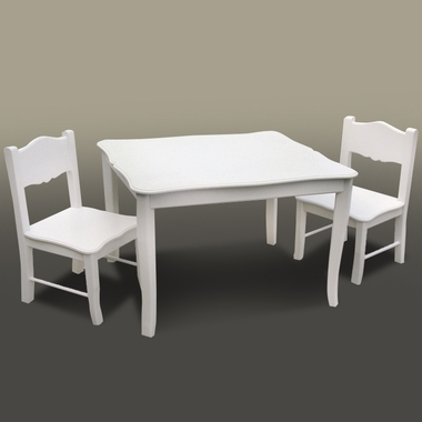 White Classic Table & Chairs Set by GuideCraft
