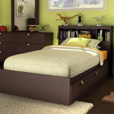 Chocolate Karma Twin Bookcase Headboard and Mates Bed by SouthShore