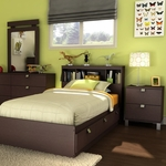 Chocolate Karma Twin Bookcase Headboard, Mates Bed and Nightstand by SouthShore