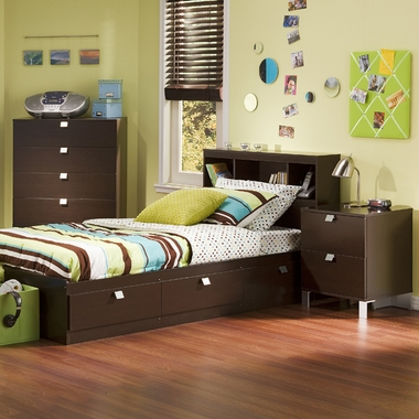 Chocolate Karma Twin Bookcase Headboard, Mates Bed, 5 Drawer Dresser and Nightstand by SouthShore