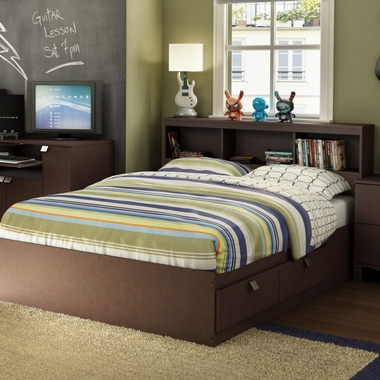 Chocolate Karma Full Bookcase Headboard and Mates Bed by SouthShore