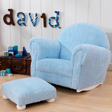 Powder Blue Chenille Rocker and Ottoman by KidKraft - Click to enlarge