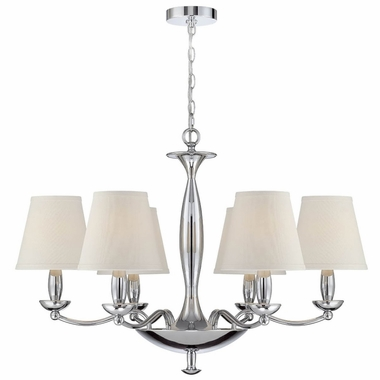 Althea 6-lite Chandelier in Chrome with White Fabric Shade by Lite Source