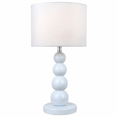 Doniel Table Lamp in White with White Fabric Shade by Lite Source - Click to enlarge