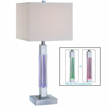 Lite Source Fidelio Table Lamp W. Led Accent in Purple, green, Red alternating Led Accent & Chrome