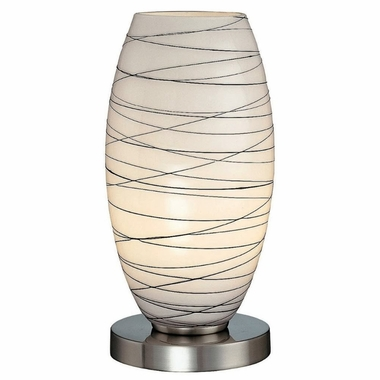 Giacomo Accent Table Lamp in Polished Steel, Frosted with Black stripe Glass Shade by Lite Source