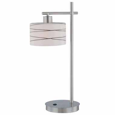 Lite Source Lenza Table Lamp in Polished Steel with Frosted Glass Shade and Glazed Black Lines