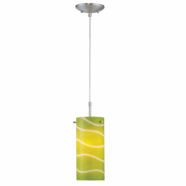 Pacifica Pendant Lamp in Polished Steel with Green Glass Shade by Lite Source - Click to enlarge
