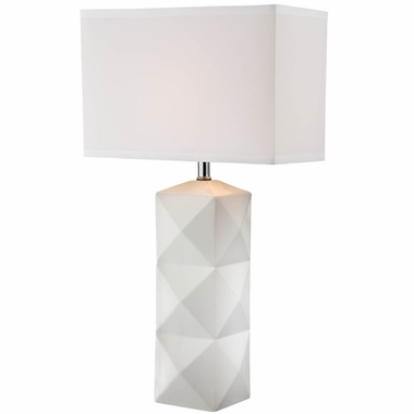 Robena Ceramic Table Lamp in Square Ceramic White with White Square Fabric Shade by Lite Source