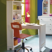 Lea Nickelodeon Tween Nick Bookcase Laptop Desk in White and Orange