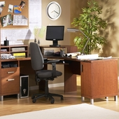 SouthShore U@Work Corner Desk in Autumn Cherry