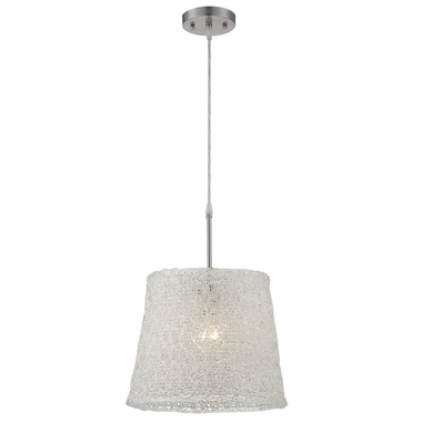 Clare Pendant Lamp in Polished Steel with Clear Acrylic Shade by Lite Source